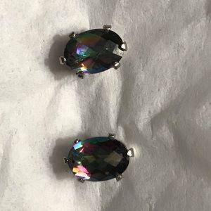 Ladies gemstone post earrings